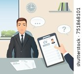 job interview. candidate male... | Shutterstock .eps vector #751868101