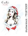 Hand Drawn Cute Woman In Santa...