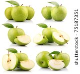 set of green apple fruits with... | Shutterstock . vector #75187351