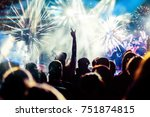 crowd with raised hands... | Shutterstock . vector #751874815