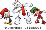 dabbing christmas characters.... | Shutterstock .eps vector #751880035
