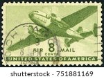 usa circa 1944  an 8 cent... | Shutterstock . vector #751881169