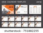 desk calendar 2018 template.... | Shutterstock .eps vector #751882255