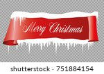 realistic red paper banners set.... | Shutterstock .eps vector #751884154