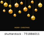 golden  hanging christmas balls ... | Shutterstock .eps vector #751886011