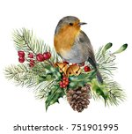 watercolor christmas... | Shutterstock . vector #751901995