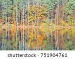 autumn reflections in a calm... | Shutterstock . vector #751904761