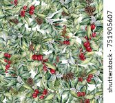 watercolor christmas floral... | Shutterstock . vector #751905607