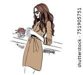 woman in trench coat | Shutterstock .eps vector #751905751