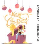 merry christmas greeting card... | Shutterstock .eps vector #751908205