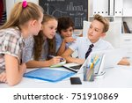 group of children near laptop... | Shutterstock . vector #751910869
