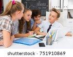 group of children near laptop... | Shutterstock . vector #751910869