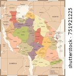 tanzania map   vintage high... | Shutterstock .eps vector #751921225