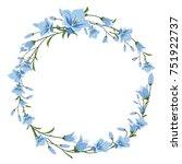 vector floral wreath of blue... | Shutterstock .eps vector #751922737