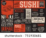sushi menu for restaurant and... | Shutterstock .eps vector #751930681