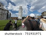 tourists having fun posing for... | Shutterstock . vector #751931971
