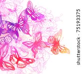 Stock photo amazing background with butterflies and flowers painted with watercolors 75193375