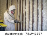 worker spraying closed cell... | Shutterstock . vector #751941937