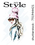 hand drawn fashion woman in... | Shutterstock .eps vector #751944421