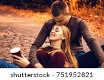 the guy is kissing the girl.... | Shutterstock . vector #751952821