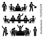 stick figure business meeting... | Shutterstock .eps vector #751953199