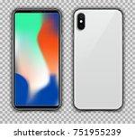 realistic white slim smartphone ... | Shutterstock .eps vector #751955239