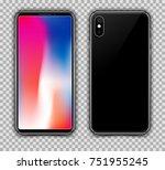 realistic black slim smartphone ... | Shutterstock .eps vector #751955245