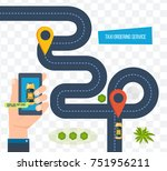 taxi order service. online taxi ... | Shutterstock .eps vector #751956211