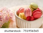 colorful macaroons in cup on... | Shutterstock . vector #751956565