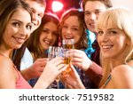 portrait of six friends holding ... | Shutterstock . vector #7519582