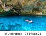 cenote dos ojos in quintana roo ... | Shutterstock . vector #751966621