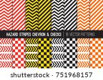 hazard stripes  chevron and... | Shutterstock .eps vector #751968157