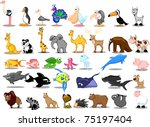 extra large set of animals... | Shutterstock .eps vector #75197404