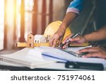 architect man working with... | Shutterstock . vector #751974061