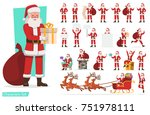 set of santa claus character... | Shutterstock .eps vector #751978111