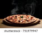 hot big pepperoni pizza tasty... | Shutterstock . vector #751979947