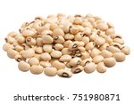 Small photo of Vigna unguiculata is scientific name of Black Eyed Pea legume. Also known as Goat Pea, California Blackeye and Feijao Fradinho. Pile of grains, isolated white background.