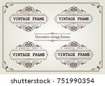 set of vintage frame with... | Shutterstock .eps vector #751990354
