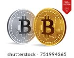 bitcoin. 3d isometric physical... | Shutterstock .eps vector #751994365