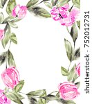 painted tulip flower frame....   Shutterstock . vector #752012731