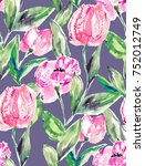 seamless tulip flower pattern... | Shutterstock . vector #752012749