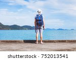 tourist traveler with backpack... | Shutterstock . vector #752013541