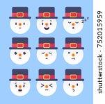 set of nine winter emoticon.... | Shutterstock .eps vector #752015959