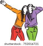 girls friends vector... | Shutterstock .eps vector #752016721