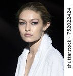 Small photo of NEW YORK, NY - September 06, 2017: Gigi Hadid walks the runway during rehearsal for the Tom Ford Spring Summer 2018 fashion show during New York Fashion Week