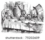 Stock vector mad hatter s tea party alice in wonderland original vintage engraving tea party with the mad 75202609