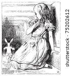 Stock vector alice in wonderland alice grown big looking at the white rabbit returning splendidly dressed 75202612