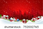 christmas background with stack ... | Shutterstock .eps vector #752032765