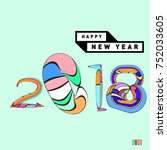 happy new year 2018 greeting... | Shutterstock .eps vector #752033605