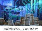 fintech concept abstract... | Shutterstock . vector #752045449